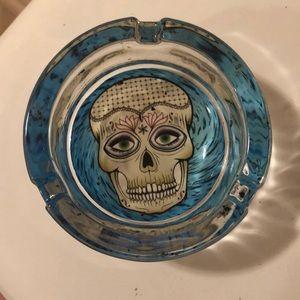 Handblown Baby Blue Skull Ash Tray